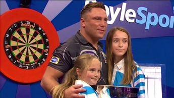 Gerwyn Price celebrates with his family