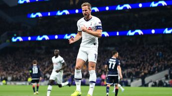 Harry Kane celebrates his goal against Crvena Zvezda