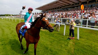 Frankie Dettori celebrates on Enable - courtesy of Great British Racing