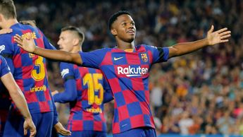 Barcelona's talented teenager Ansu Fati celebrates scoring at Camp Nou