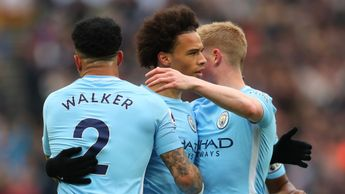 Leroy Sane is congratulated after scoring for Man City