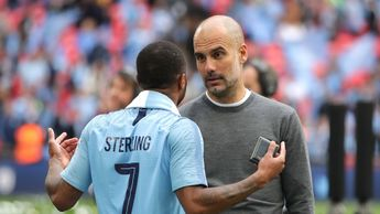 Pep Guardiola and Raheem Sterling after their FA Cup triumph