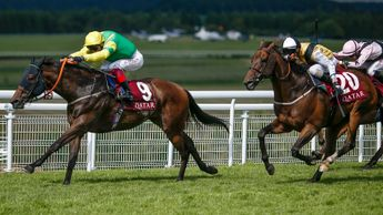 Upstaging (20) gives chase to Lancelot Du Lac at Goodwood