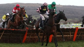 Call Me Lord (green silks) on his way to Cheltenham victory