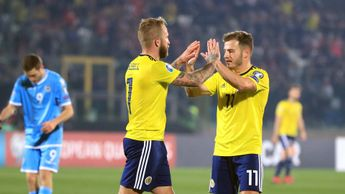 Johnny Russell and Ryan Fraser celebrates for Scotland
