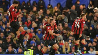 Bournemouth celebrate Dan Gosling's goal against Chelsea