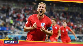 Harry Kane celebrates his goal for England at the World Cup