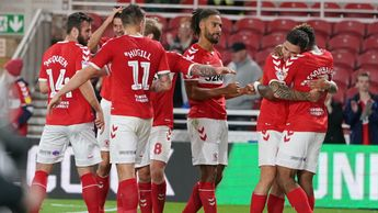 Middlesbrough players celebrate Britt Assombalonga's goal in the Sky Bet Championship