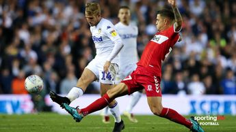 Samuel Saiz (left) in action for Leeds against Middlesbrough
