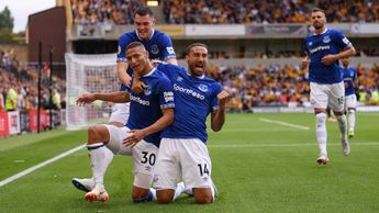 Richarlison and Everton celebrate his goal against Wolves