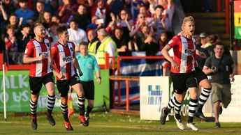 Jayden Stockley and Exeter celebrate
