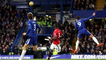 Alvaro Morata makes it 1-0 for Chelsea against Manchester United
