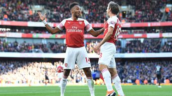 Pierre-Emerick Aubameyang (left) celebrates his Arsenal goal with Nacho Monreal
