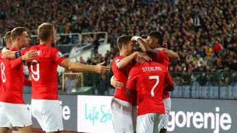 England celebrate Rashford's opener in Bulgaria