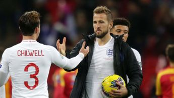 Harry Kane with the match ball after scoring a hat-trick for England