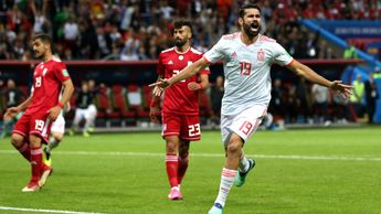 Diego Costa: The Spain striker celebrates a fortuitous goal v Iran at the 2018 World Cup