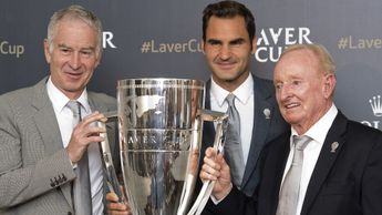 John McEnroe, Roger Federer and Rod Laver with the Laver Cup trophy