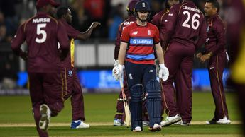 Windies celebrate Eoin Morgan's dismissal