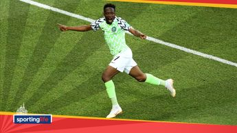 Ahmed Musa celebrates putting Nigeria ahead against Iceland