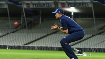 Joe Root trains under lights with the pink ball