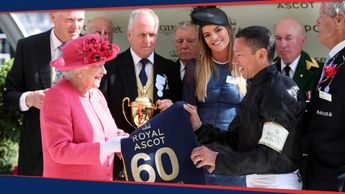 The Queen presents Frankie Dettori with his sixth Ascot Gold Cup
