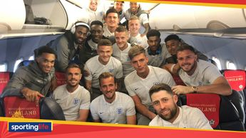 England players pose for a picture with hat-trick hero Harry Kane