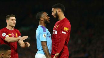 Raheem Sterling and Joe Gomez square up during Liverpool v Man City