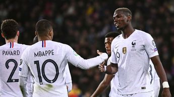Kylian Mbappe and Paul Pogba celebrate for France