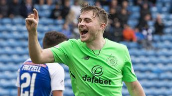 James Forrest celebrates his goal at Rugby Park