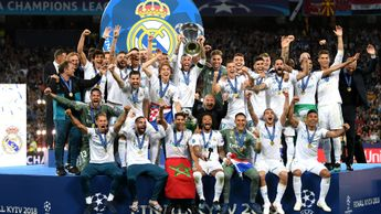 Real Madrid win their 13th European Cup and third Champions League in a row