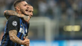 Maurio Icardi celebrates his goal for Inter against Spurs