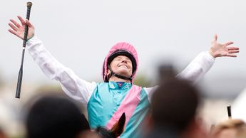 Frankie Dettori laps up the applause after Enable's victory in the Prix de l'Arc de Triomphe