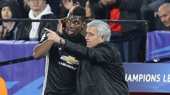 Manchester United manager Jose Mourinho with Paul Pogba