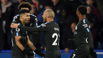 Sergio Aguero and his City team-mates celebrate