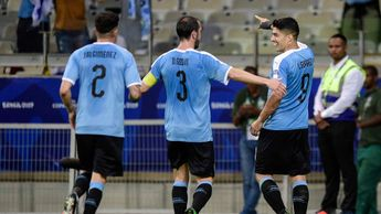 Luis Suarez celebrates with Uruguay team-mates at the Copa America