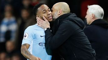 Pep Guardiola (right) congratulates Man City's hat-trick hero Raheem Sterling