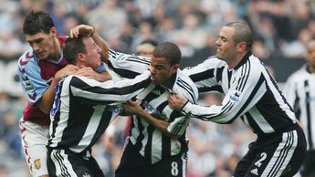 Newcastle team-mates Lee Bowyer and Kieron Dyer were both sent off for this incident