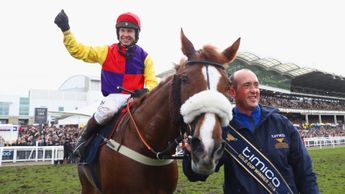 Richard Johnson celebrates on Native River after winning the Gold Cup
