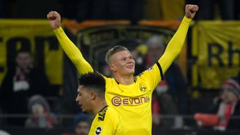 Erling Haaland celebrates his first goal against Koln