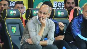 Manchester City boss Pep Guardiola looking glum as the champions lose at Norwich