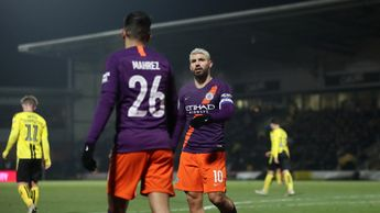 Sergio Aguero celebrates his goal for Manchester City