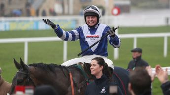 Bryony Frost celebrates her win on Frodon
