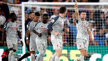James Milner celebrates scoring for Liverpool at Crystal Palace