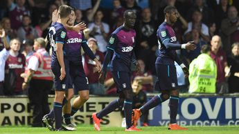 Conor Hourihane celebrates with his Aston Villa team-mates after scoring in the Carabao Cup