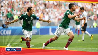 Mexico's Hirving Lozano (right) and Andres Guardado celebrate after scoring v Germany at the World Cup