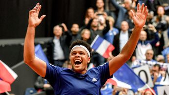 Jo-Wilfried Tsonga celebrates taking France into the Davis Cup final