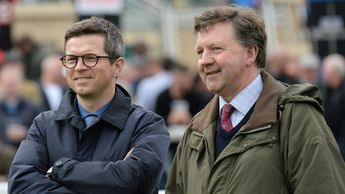Roger Varian (l) in conversation with Tim Easterby