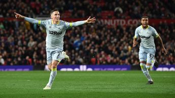Derby's Harry Wilson, on loan from Liverpool, celebrates after scoring against Man United at Old Trafford