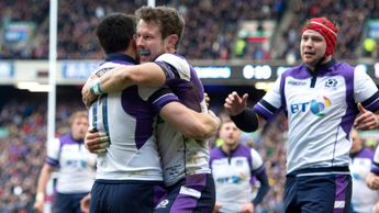 Scotland's Sean Maitland celebrates with Peter Horne