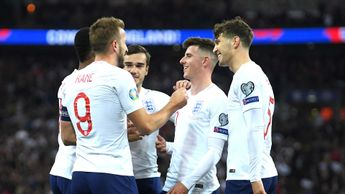 Harry Kane and England celebrate beating Montenegro 7-0 at Wembley